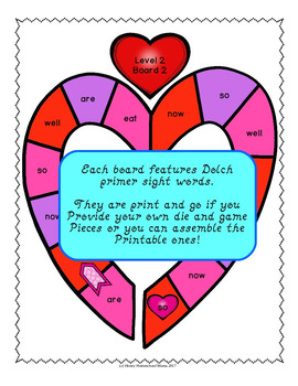 Through the Year - Dolch Primer Sight Word Games - February