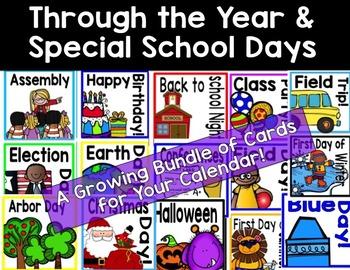 Through the Year & Special School Days Calendar Cards