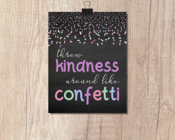 Throw Kindness Around Like Confetti | 8x10 Printable Poster | Chalkboard