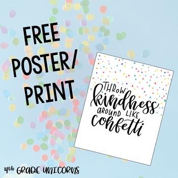 Throw Kindness Around Like Confetti Inspirational Poster / Print