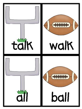 Throw the Ball! vowel sound in ball Literacy Centers