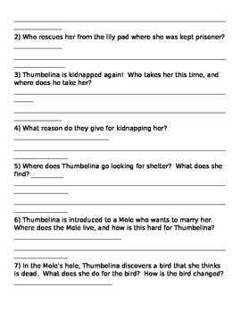 Thumbelina, A Fairy Tale Comprehension Activity and/or Test
