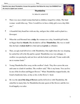 Thumbelina Reading Comprehension Assessment