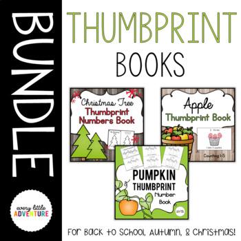 Thumbprint Number Books Bundle - Apples, Pumpkins, & Christmas