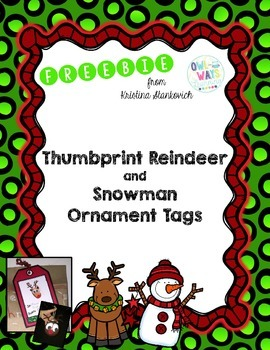 Thumbprint Reindeer & Snowman Ornament Tags FREEBIE
