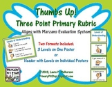 Thumbs Up Primary Marzano Rubric (Scale for Student Self Assessment)