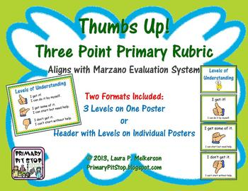Thumbs Up Primary Marzano Rubric (Scale for Student Self A