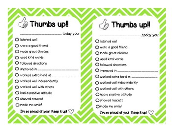Thumbs Up! Sending Positive Notes Home