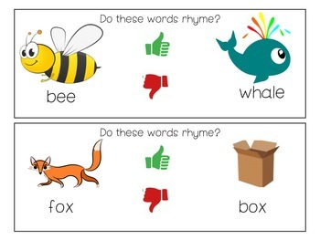 Thumbs Up Thumbs Down Rhyming Activity; TS Gold Objective 15 Phon. Awareness