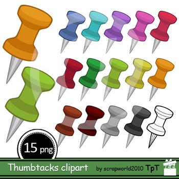 Thumbtacks clipart, Pushpins clip art, ok kommercial use, black-white