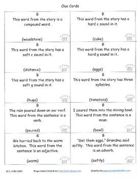 Thunder Cake Bingo Game ~ Language Arts Activity