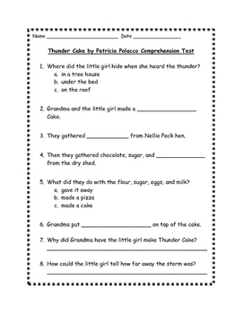 Thunder Cake Comprehension Test
