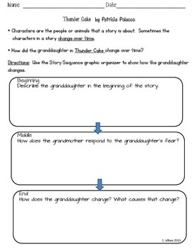 Thunder Cake Graphic Organizer -  Sequence and Character Change  - ReadyGen