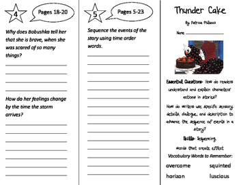 Thunder Cake Trifold - ReadyGen 3rd Grade Unit 1 Module A