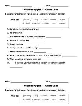 Thunder Cake Vocab Quiz