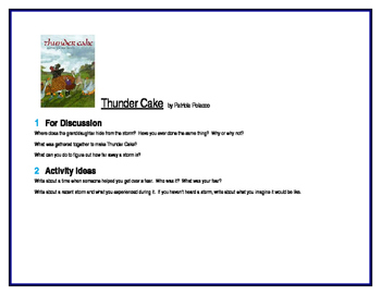 Thunder Cake for Literature Circles