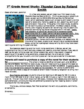 Thunder Cave Novel Introduction Letter for Parents