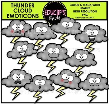 Thunder Cloud Emoticons Clip Art Bundle {Educlips Clipart}