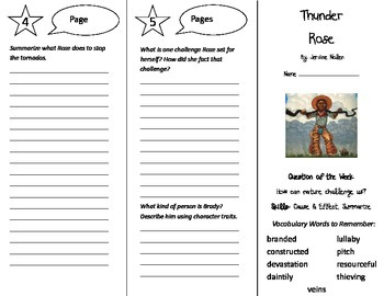 Thunder Rose Trifold - Reading Street 5th Grade Unit 1 Week 2