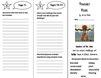 Thunder Rose Trifold - Reading Street 5th Grade Unit 1 Week 2