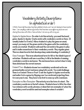 Thunder Rose Vocabulary Activities and Games- 5th Grade Unit 1, Story 2