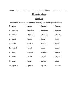 Thunder Rose Differentiated Spelling (Scott Foresman Reading Street)