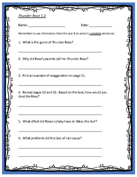 Thunder Rose comprehension questions - 5th Grade Reading Street