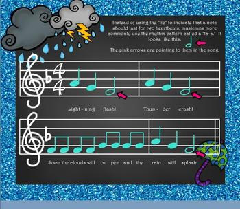"""Thunderstorm! Weather Song for Practicing """"Do-Re-Mi""""/""""Ta-a"""" Intro. PPT ED."""