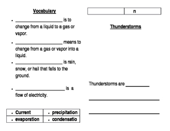 Thunderstorms Comprehension Book