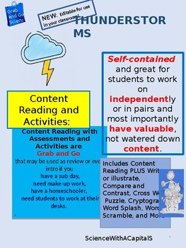 Thunderstorms Content Reading with Assessments and Activities