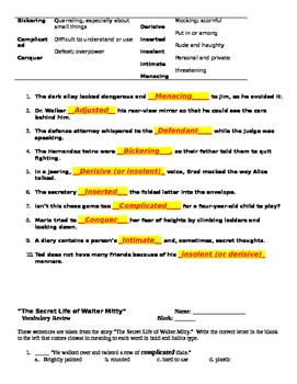 Thurber ~ The Secret Life of Walter Mitty Preread, Vocab. Worksheets (KEYS)