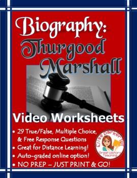 Thurgood Marshall Biography Video Worksheets - Examview & Editable!