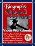 Thurgood Marshall Biography Video Worksheets - PDF and Examview