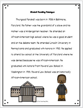 Thurgood Marshall - A Lesson Plan Packet with Literacy Activities