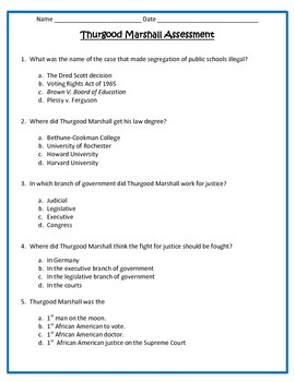 Thurgood Marshall ASSESSMENT-  3rd Grade Social Studies