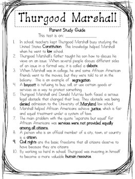 Thurgood Marshall Assessment Packet: Study Guide, Vocabulary, Test, and Key