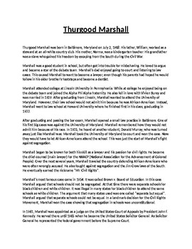 Thurgood Marshall Biography Article and Assignment Worksheet