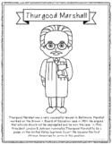 Thurgood Marshall Biography Coloring Page Craft or Poster, African American