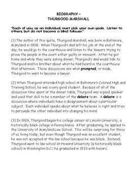 Thurgood Marshall Biography and Find the Evidence Worksheet