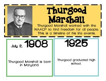 Thurgood Marshall Cards of events from his life and timeline page