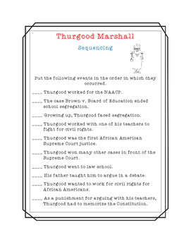 Thurgood Marshall Close Read, Comprehension, and Writing Packet