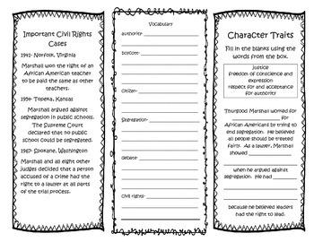 Thurgood Marshall Interactive Brochure- NO PREP! Printable