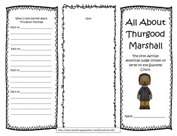 5th Grade ( NEW GSE) Thurgood Marshall Interactive Brochure- NO PREP!