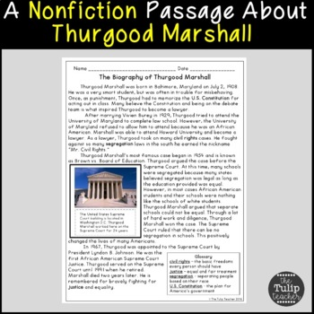 Thurgood Marshall Paired Passages For Reading
