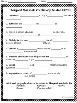 Thurgood Marshall Spelling/Vocab for GPS Social Studies Historical Figure