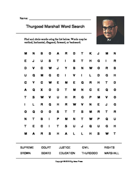 Thurgood Marshall Word Search (Grades 3-5)