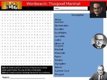 Thurgood Marshall Wordsearch Black History Month Keywords Settler Homework Cover