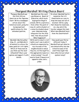 Thurgood Marshall Writing Choice Board