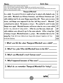 Thurgood Marshall fluency and comprehension leveled passage