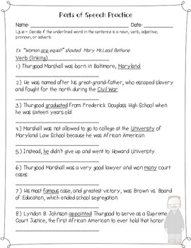 Thurgood Marshall's Language Review {Common Core Language Arts Practice}